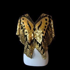 100% Silk 1970's Sequin Butterfly Top 🦋